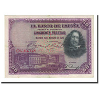 Billet, Espagne, 50 Pesetas, 1928-08-15, KM:75b, TTB - 50 Pesetas