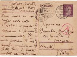 PRISONNIER DE GUERRE 40 45 ENTIER POSTAL HITLER STALAG LAGER RUBELAND  VERS ITALIA  CENSURE AD ET MARQUE DE CAMP - Militaria