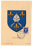 HERALDIQUE = 17 SAINTES 1954 = CARTE MAXIMUM  Illustrée D' ARMOIRIES + N° Yvt 1005 SAINTONGE - 1950-59