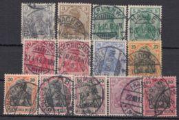 """83/93 I, """"Germania"""", Friedensdruck, 13 Werte, Dabei Farbvarianten - Oblitérés"""