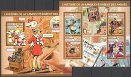 UU025 2017 CHAD CARTOONS COMICS & ANIMATION HISTORY KB+BL MNH - Bandes Dessinées