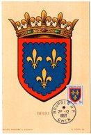HERALDIQUE = 18 BOURGES 1953 = CARTE MAXIMUM  Illustrée D' ARMOIRIES + N° Yvt 959 BERRI - Maximum Cards