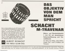 Original-Werbung/ Anzeige 1964 - SCHACHT TRAVENAR OBJEKTIV - Ca. 135 X 100 Mm - Werbung