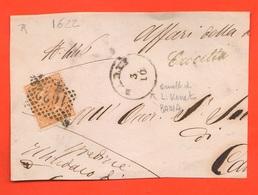 Ormelle O Crocetta Montello Regno Frammento Busta 10 Centesimi Ocra Chiaro Annullo Numerale 1622 - 1861-78 Vittorio Emanuele II