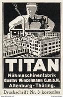 Original-Werbung/ Anzeige 1930 - TITAN NÄHMASCHINEN / WINSELMANN - ALTENBURG - Ca. 35 X 50 Mm - Pubblicitari