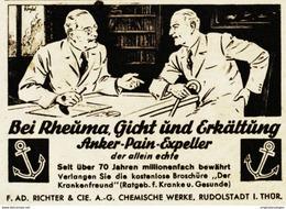 Original-Werbung/ Anzeige 1941 - RICHTER ANKER PAIN-EXPELLER - RUDOLSTADT - Ca. 65 X 50 Mm - Pubblicitari
