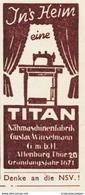 Original-Werbung/ Anzeige 1941 - TITAN NÄHMASCHINEN / WINSELMANN - ALTENBURG - Ca. 25 X 50 Mm - Pubblicitari