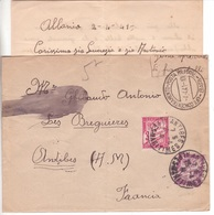 """1941 Italie """"zone Dépourvue De Timbres-poste"""" Camp De Concentration BARI Poste Militaire CENSURE  > France TAXE 5F - Postage Due"""