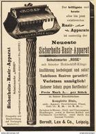 """Original-Werbung/Anzeige 1895 - SICHERHEITS-RASIR (RASIER) APPARAT """"ROSE"""" / BERNDT/LAX - LEIPZIG -ca. 90 X 120 Mm - Werbung"""