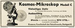 Original-Werbung/ Anzeige 1930 - KOSMOS MIKROSKOP - FRANCKH - STUTTGART - Ca. 140 X 50 Mm - Werbung
