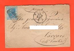 Regno 1873 Busta Vuota 20 Centesimi Azzurro Annullo Numerale 200 Viaggiata Da E Per Carrara Dell'Emilia - Storia Postale