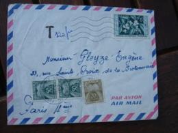 Lettre Taxee 3 Timbre Gerbe Gerbes 50f En Paire Et 20 F  Sur Lettre Afrique Occidentale - Lettres Taxées