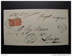 """3314 ITALIA Regno-1866- """"T 15 Torino"""" C. 2 Coppia SAREGO>LONIGO (descrizione) - 1861-78 Vittorio Emanuele II"""