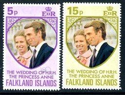 Falkland Islands 1973 Royal Wedding Set Of 2, MNH, SG 291/2 - Falkland