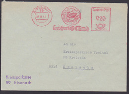 Eisenach AFS Kreisspakasse 7.11.67, Wartburg Und Landwirt Mit Pflug Und Spaten DDR - Marcofilie - EMA (Print Machine)