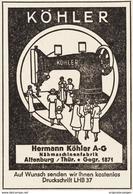Original-Werbung/ Anzeige 1939 - NÄHMASCHINEN KÖHLER - ALTENBURG - Ca. 60 X 90 Mm - Pubblicitari
