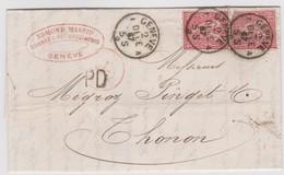 SUISSE 1867:   Lettre  De Genève à Thonon, Tarif Frontalier à 20c. - 1862-1881 Zittende Helvetia (getande)