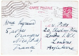 2f40 Iris Yvert 654-CP1, Carte Postale Pour L'Angleterre 4/04/1945 - Postal Stamped Stationery