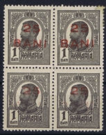 Romenia : Mi 237 4 Block Mit 2x Fehlendes Bani  Aufdrück 1918 2* MNH + 2* MH/* Flz/ Charniere - 1881-1918: Charles I