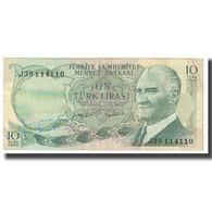 Billet, Turquie, 10 Lira, 1970, 1970-10-14, KM:186, TTB - Turquie