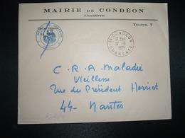 LETTRE MAIRIE OBL.17-8 1971 16 CONDEON CHARENTE - Marcophilie (Lettres)