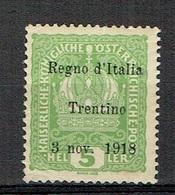 ITALY Trentino 1918 Sassone 2 Nuovo Non Linguellato, MNH - 8. Ocupación 1ra Guerra