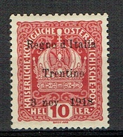 ITALY Trentino 1918 Sassone 4 Nuovo Non Linguellato, MNH - 8. Ocupación 1ra Guerra