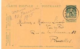 """Pellens Entier 5 Ct Berchem(Antw) 24.VIII.14 Naar Brussel (reeds Bezet) - """"arrivé Le 10 Janvier 1915"""" !!! - Weltkrieg 1914-18"""