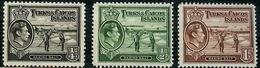 TURKS AND CAICOS ISLANDS 1938 Raking Salt MNH 3.05$ 3 Stamps - Turks- En Caicoseilanden