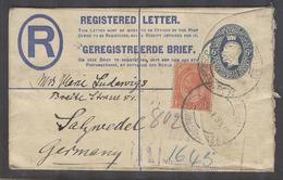 SOUTH AFRICA. 1924 (27 May). Joburg - Germany, Salzwedel (18 June). Reg Bilingual 6d Blue Stat Env 1d Red Adtl. Fkg Tied - Afrique Du Sud (1961-...)