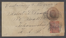 SOUTH AFRICA. C.1890. CGH. GPO - Joburg, ZAR. 1d Brown Qv Stat Wrapper 1d Red Adtl Mixed Issues Tied Indist Grill. - Afrique Du Sud (1961-...)