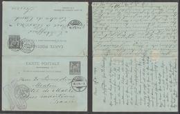 FRANCE. 1894 (24 Jan). Menton - Switzerland (26 Jan) - Menton (27 Jan). Doble 10c Sage Reply Stat Card Used Both Ways Pr - France
