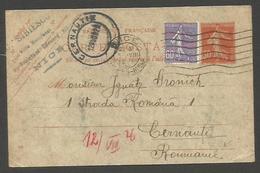 FRANCE - XX. 1926 (5 Aug). Nice - Romania, Cernauti (10 Aug). 30c Red Semense Issue Stat Card 60c Lilac Adtl Tied Wavy L - France