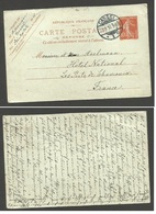 FRANCE - XX. 1910 (22 Aug). Stat Reply Half. Correct Use Germany Kassel - France, Chamonix. 10c Red Semeuse Issue Reply - France