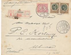 Nederlands Indië - 1924 - 2x 17,5 Op 22,5 Cent Wilhelmina Type Veth + 5 Cent Op R-cover Van LB Tjimahi Naar Alkmaar - Niederländisch-Indien