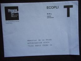 """ENVELOPPE""""MEMORIAL De La SHOAH"""" écopli Validité Permanente T - Entiers Postaux"""