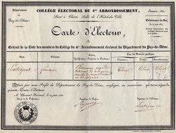 VP14.898 - CLERMONT - FERRAND 1831 - Grande Carte D'Electeur - Mr F. LASTEYRAS Pharmacien à THIERS - Cartes
