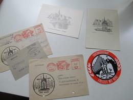 Friedrichstadt Eider Posten 2 Freistempel Belege / 1x Nachporto / 2 Karten / Aufkleber Und 2 Notgeldscheine Von 1921 - Collections (without Album)