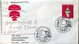 44743 Germany, Special Cover And Postmark 1968 Oberkochen, Ernst Abbe Carl Zeiss Microscope - Medicine