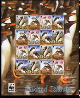 Falkland Islands 2002 Endangered Species, Penguins Complete Sheetlet Of 16, Used, SG 937/40 - Falkland Islands