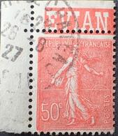 R1934/55 - 1927 - TYPE SEMEUSE LIGNEE - N°199 CdF ☉ BANDE PUBLICITAIRE : EVIAN - VARIETE ➤➤➤ Filet Nord Partiel - Advertising