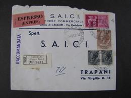 """14 ITALIA Repubblica -1958- """"Storia Postale"""" Lettera Raccomandata Espressa (descrizione) - 1946-.. Republiek"""
