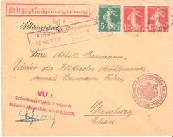 Lettre Adressée De LOURDES Pour STRASBOURG Avec Nombreuses Censures - Postmark Collection (Covers)
