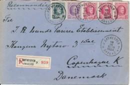 Aangetekende Brief Antwerpen 7  18 IX 1924 Naar Kopenhagen 20 9 24 - Frankering 1.50Fr 3 Kleuren - 1922-1927 Houyoux