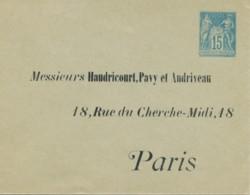 Enveloppe J67 122 X 95 - Adressé Haudricourt, Pavy Et Audriveau Paris - Postal Stamped Stationery