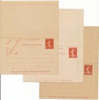 3 CL Semeuse Fond Plain - 025, 413, 810 - Postal Stamped Stationery