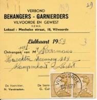 Poortman 3Fr X 2 Op Lidkaart 1959 Van Behangers - Garnierders Vilvoorde En Gewest -  Lid Perremans Kampenhout - 1936-1951 Poortman