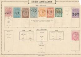 Inde Anglaise - - 1867 Timbre Télégramme Sur Vieille Feuille D'album. - Inde (...-1947)