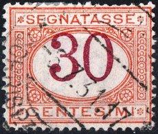 ITALIA, ITALY, REGNO, SEGNATASSE, 1870, 30 C., FRANCOBOLLO USATO Sass. S7, Mi. P7a, Scott J8, YT T8 - Segnatasse