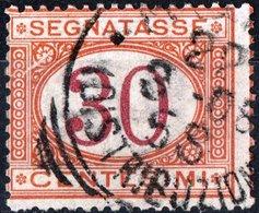 ITALIA, ITALY, REGNO, SEGNATASSE, 1890, 30 C., FRANCOBOLLO USATO Sass. S23, Mi. P7b - 1878-00 Umberto I
